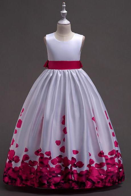 Long Flower Girl Dress Floral Printed Teens Wedding Bridesmaid Party Gown Children Clothes hot pink