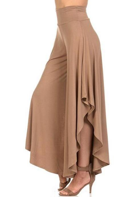 Elegant Irregular Ruffles Wide Leg Pants Women High Waist Pleated Casual Loose Streetwear Trousers khaki