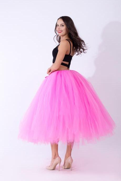 Women Puffy Tutu Skirts Long Tea Length Tulle Skirt Wedding Bridesmaid Lolita Under skirt deep pink