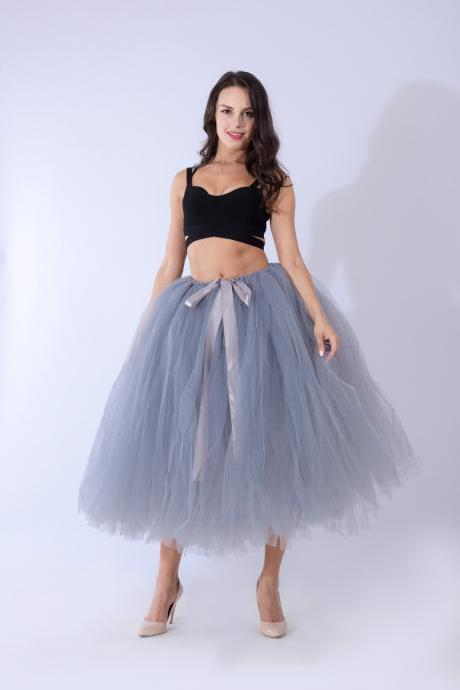 Women Puffy Tutu Skirts Long Tea Length Tulle Skirt Wedding Bridesmaid Lolita Under skirt gray
