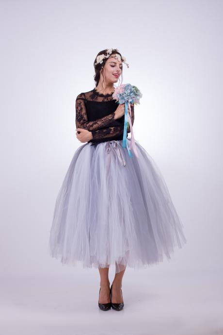 Women Puffy Tutu Skirts Long Tea Length Tulle Skirt Wedding Bridesmaid Lolita Under skirt gray+white