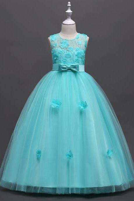 Long Flower Girl Dress Teen Kids Formal Party Wedding Birthday Gown Children Clothes aqua