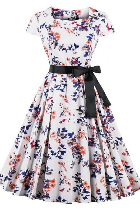 Vintage Floral Pleated Dress Women Square Collar Belted Cap Sleeve Summer Party Dress1#