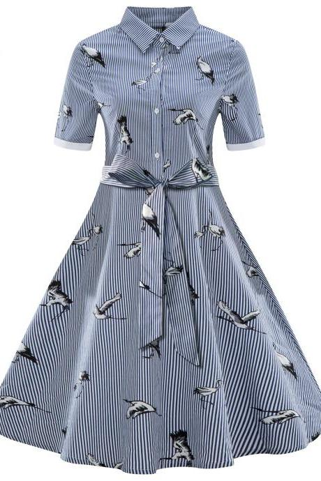 Women Striped Shirt Dress Turn Down Collar Vintage Wild Geese Print Short Sleeve Summer Casual Dress blue