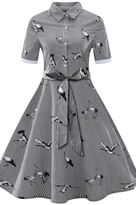 Women Striped Shirt Dress Turn Down Collar Vintage Wild Geese Print Short Sleeve Summer Casual Dress black