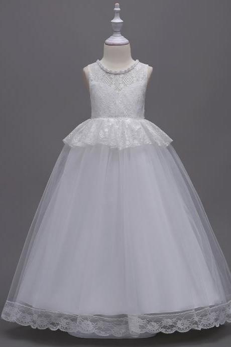 Long Lace Flower Girl Dress Princess Teens Wedding Formal Party Gown Children Clothes off white