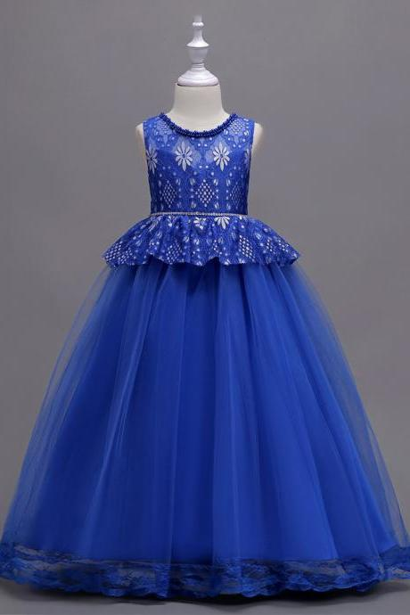 Long Lace Flower Girl Dress Princess Teens Wedding Formal Party Gown Children Clothes royal blue