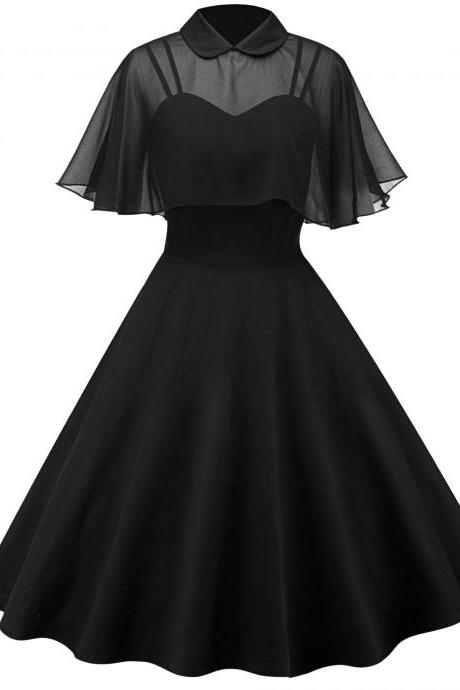 Vintage Hepburn 50 60s Casual Dress Doll Collar Butterfly Sleeve Cloak Big Swing Cocktail Party Dress black