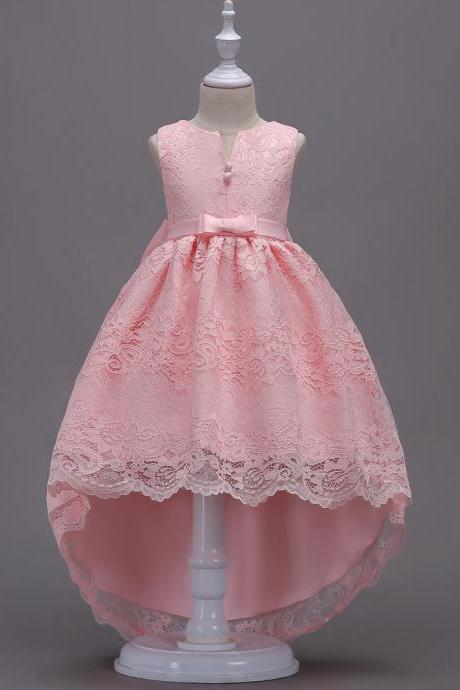 High Low Lace Flower Girl Dress Princess Wedding Birthday Party Teenage Children Clothes pink