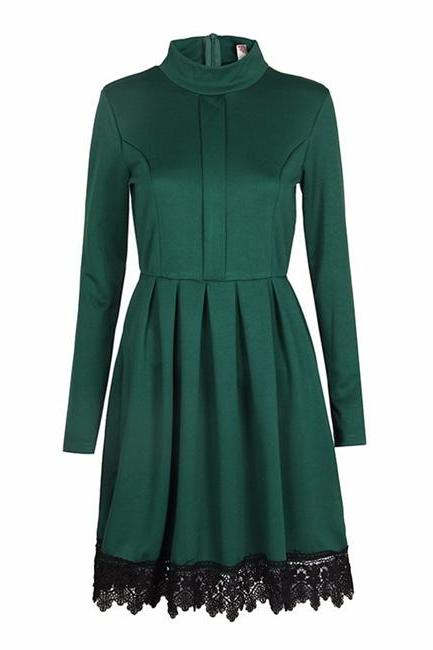 Long Sleeve Casual Dress Women O-Neck Lace Patchwork Office Party Dress green