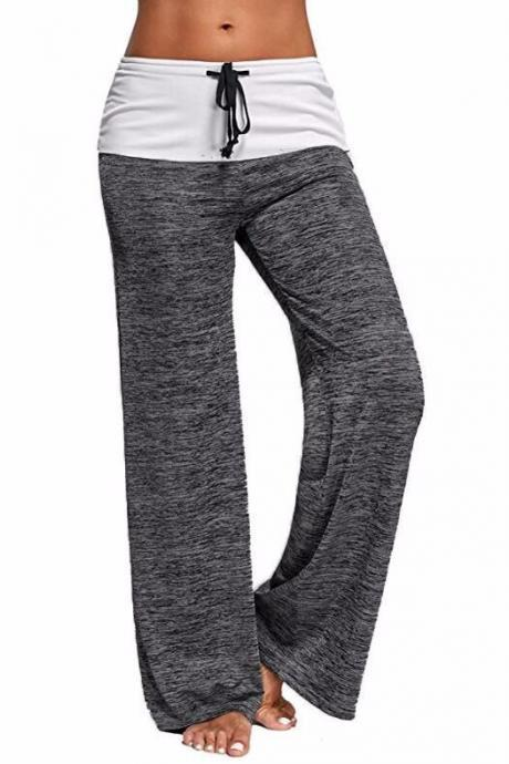 Women Wide Leg Pants Mid Waist Drawstring Long Sweatpants Casual Loose Straight Trousers gray