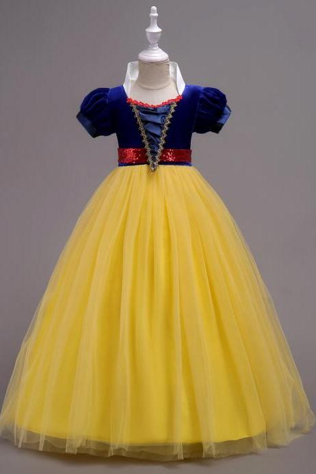 Snow White Dress Princess Baby Kids Girl Party Dress Cosplay Costume Children Clothes yellow