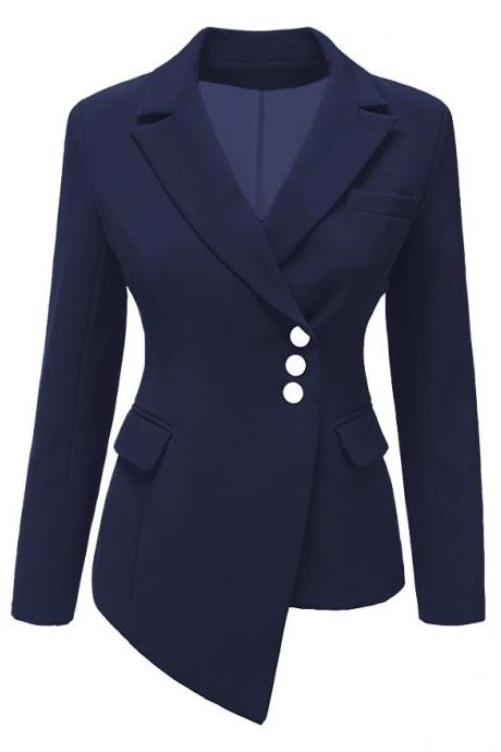 Fashion Slim Asymmetrical Women Suit Coat Buttons Long Sleeve Solid Lady Short Casual Jacket navy blue
