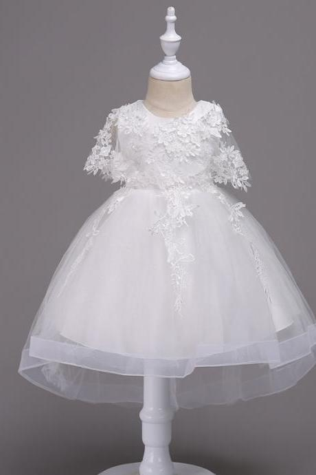 Princess Lace Flower Girl Dress High Low Kids Wedding Bridesmaid Party Children Clothes off white