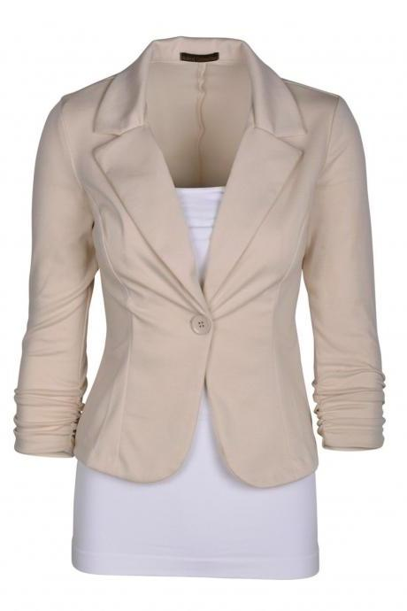 Fashion Spring Women Slim Blazer Coat Long Sleeve One Button Casual Suit Jacket Ladies Work Wear apricot