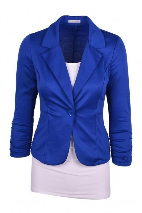 Fashion Spring Women Slim Blazer Coat Long Sleeve One Button Casual Suit Jacket Ladies Work Wear blue