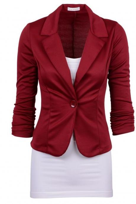 Fashion Spring Women Slim Blazer Coat Long Sleeve One Button Casual Suit Jacket Ladies Work Wear burgundy