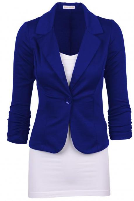 Fashion Spring Women Slim Blazer Coat Long Sleeve One Button Casual Suit Jacket Ladies Work Wear royal blue