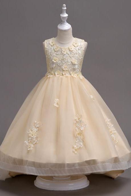 Pretty Lace High Low Flower Girl Dress Applique Wedding Holy Communion Party Gown Children Clothes champagne