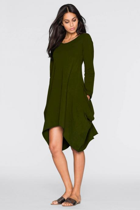 Women O-Neck Long Tunic Tops Asymmetrical Hem Long Sleeve Pockets Casual Shirt Solid Blouse army green