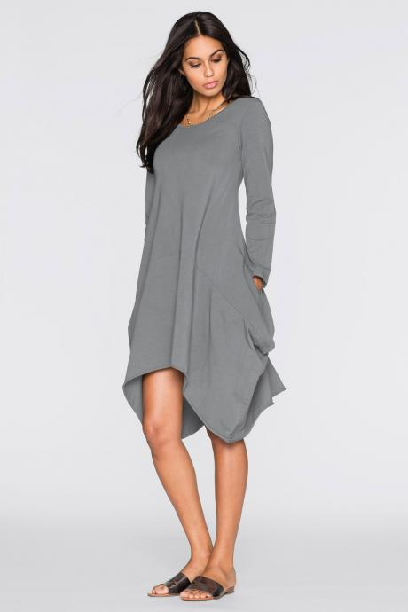 Women O-Neck Long Tunic Tops Asymmetrical Hem Long Sleeve Pockets Casual Shirt Solid Blouse gray