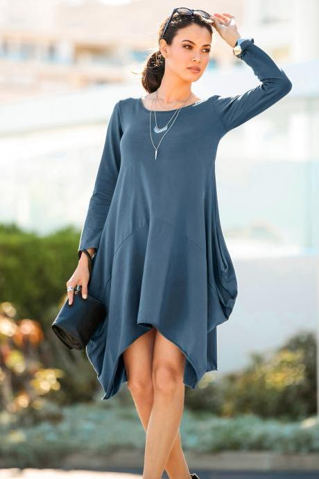 Women O-Neck Long Tunic Tops Asymmetrical Hem Long Sleeve Pockets Casual Shirt Solid Blouse lake blue