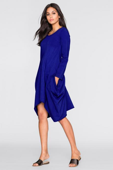 Women O-Neck Long Tunic Tops Asymmetrical Hem Long Sleeve Pockets Casual Shirt Solid Blouse royal blue