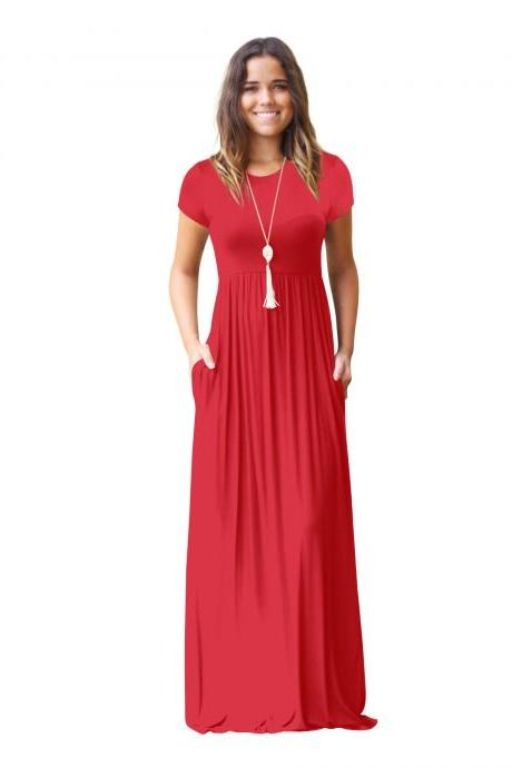 Women Maxi Long Dress Short Sleeve O Neck Solid Slim Pockets Spring Casual Party Dress red