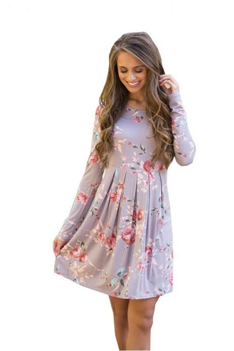 Women Spring Autumn Casual Dress Vintage Long Sleeve Floral Print Mini Beach Dress gray