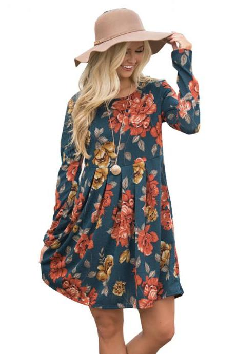 Women Spring Autumn Casual Dress Vintage Long Sleeve Floral Print Mini Beach Dress teal