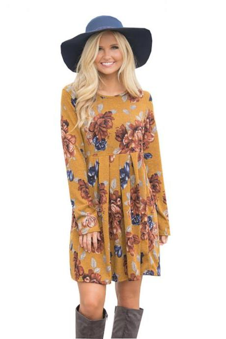 Women Spring Autumn Casual Dress Vintage Long Sleeve Floral Print Mini Beach Dress yellow