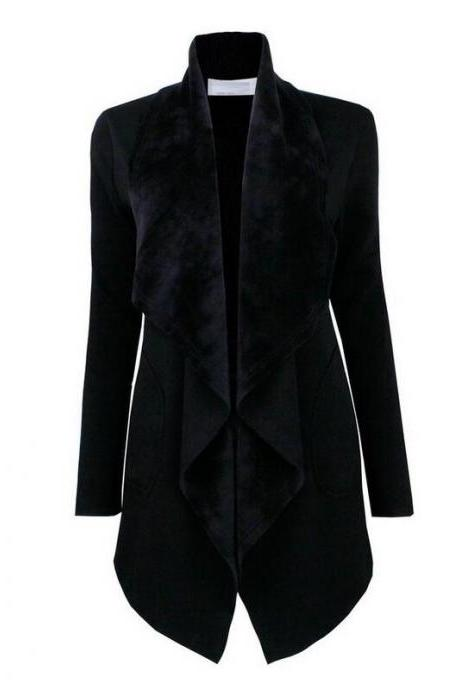 Spring Autumn Turn-down Collar Coat Women Long Sleeve Cardigan Solid Asymmetrical Jacket Outwear black