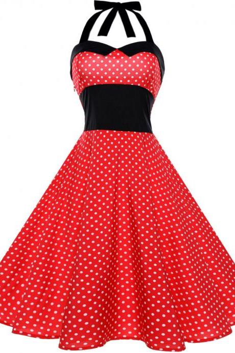 Vintage Polka Dot/Floral Dress Halter Backless Big Swing Women Casual Party Dress 2#