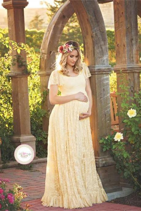 Long Lace Pregnant Dress Women Casual Ruffles Short Sleeve Evening Party Maxi Maternal Pregnancy Dress beige