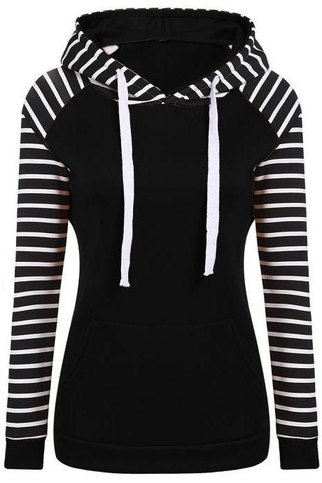 Spring Autumn Striped Fleece Hoodies Women Long Sleeve Pullover Streetwear Hooded Sweatshirt black