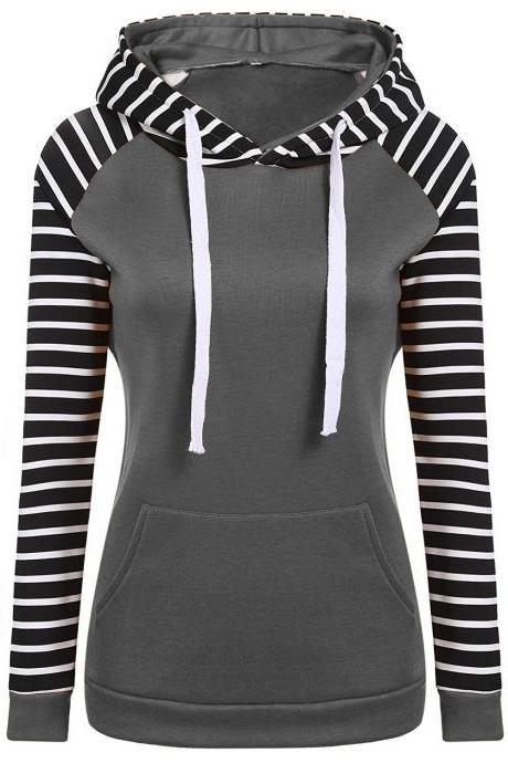 Spring Autumn Striped Fleece Hoodies Women Long Sleeve Pullover Streetwear Hooded Sweatshirt gray