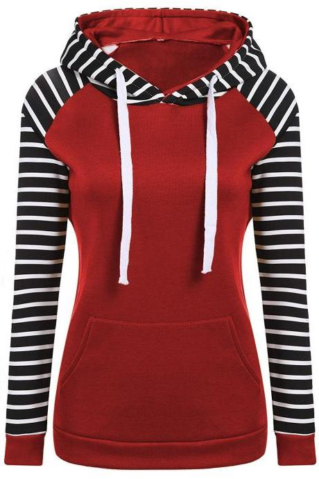 Spring Autumn Striped Fleece Hoodies Women Long Sleeve Pullover Streetwear Hooded Sweatshirt red