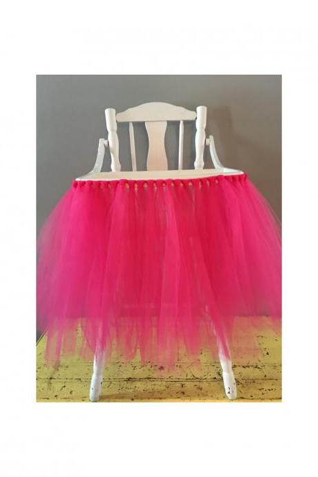 Tutu Tulle Table Skirts High Chair Decor Baby Shower Decorations for Boys Girls Party Set Birthday Party Supplies hot pink