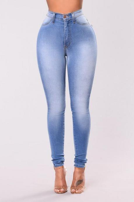 Women High Waist Denim Jeans Vintage Slim High Quality Casual Skinny Pencil Pants sky blue