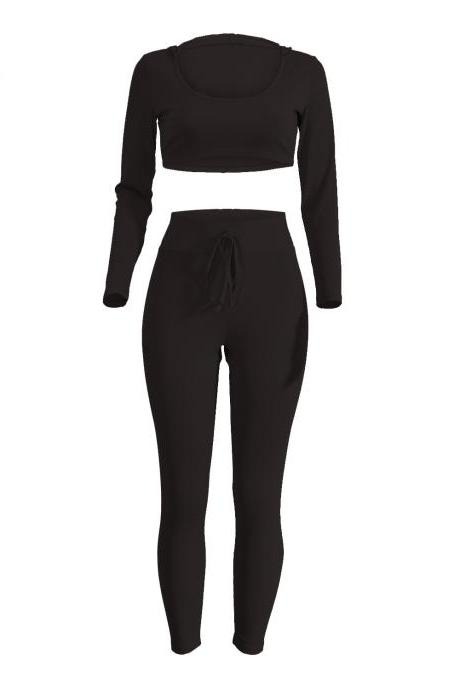 Spring Women Casaul Tracksuit Long Sleeve Hoodie+Pants Two pieces Leisure Sets Nightclub Party Suits black