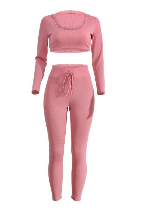 Spring Women Casaul Tracksuit Long Sleeve Hoodie+Pants Two pieces Leisure Sets Nightclub Party Suits pink
