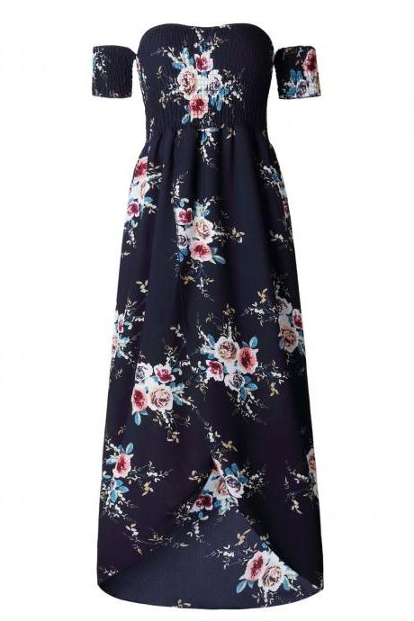 Navy Blue Off-the-Shoulder Smocked Floral Print High-Low Maxi Summer Dress