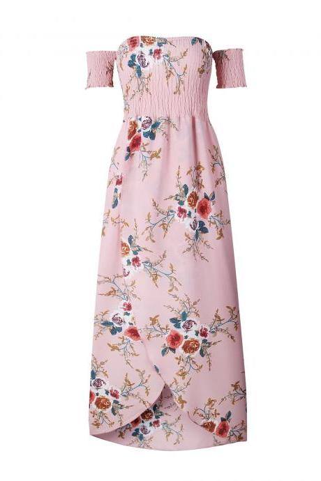 Pink Off-the-Shoulder Smocked Floral Print High-Low Maxi Summer Dress