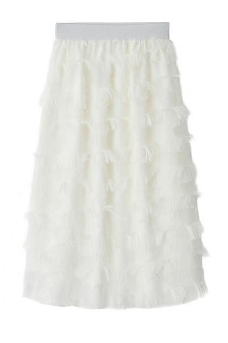 New Feathers Tassels Skirt Elastic High Waist A-line Women Tutu Midi Skirt off white