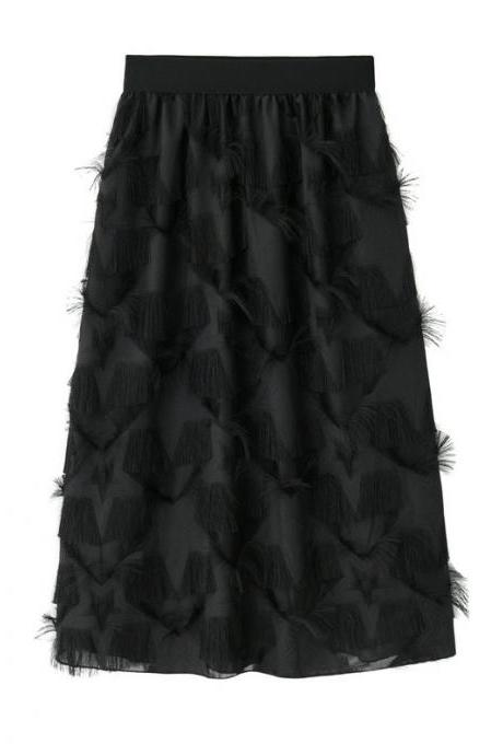 New Feathers Tassels Skirt Elastic High Waist A-line Women Tutu Midi Skirt black