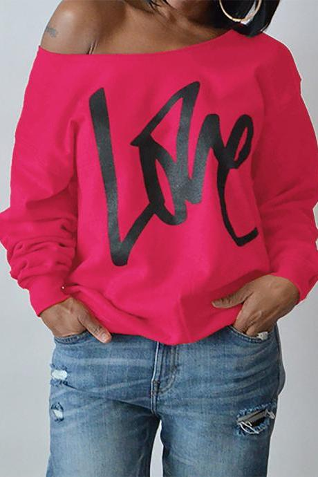 Women Hoodies Sweatshirt Spring Girls LOVE Letter Printed Long Sleeve Sexy Off The Shoulder Pullover hot pink