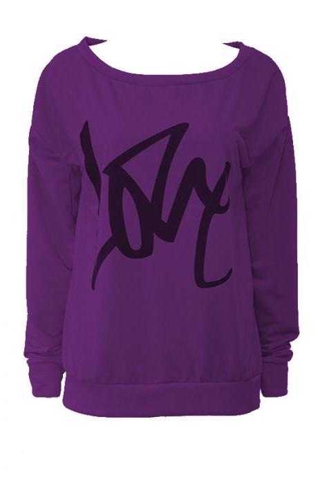 Women Hoodies Sweatshirt Spring Girls LOVE Letter Printed Long Sleeve Sexy Off The Shoulder Pullover purple