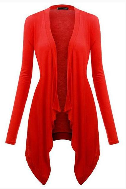 Women Cardigan Spring Long Sleeve Irregular Ladies Coat Slim Jacket Outerwear red