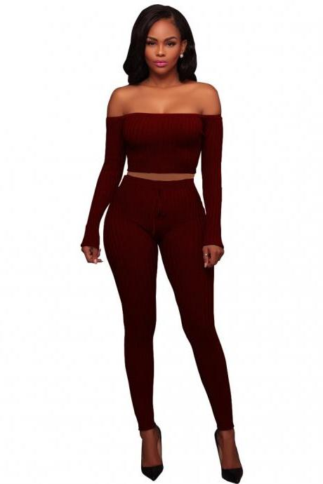 Sexy Two Piece Sets Women Off Shoulder Crop Top+Long Pants Suit Lady Leisure Tracksuit burgundy