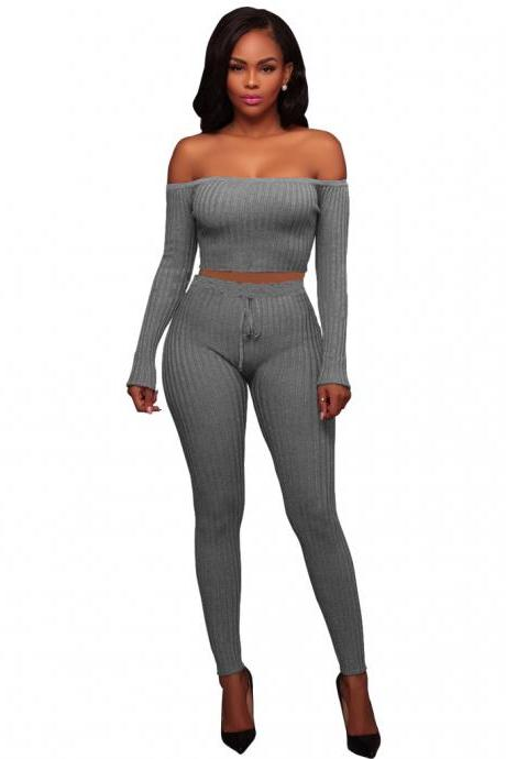 Sexy Two Piece Sets Women Off Shoulder Crop Top+Long Pants Suit Lady Leisure Tracksuit gray